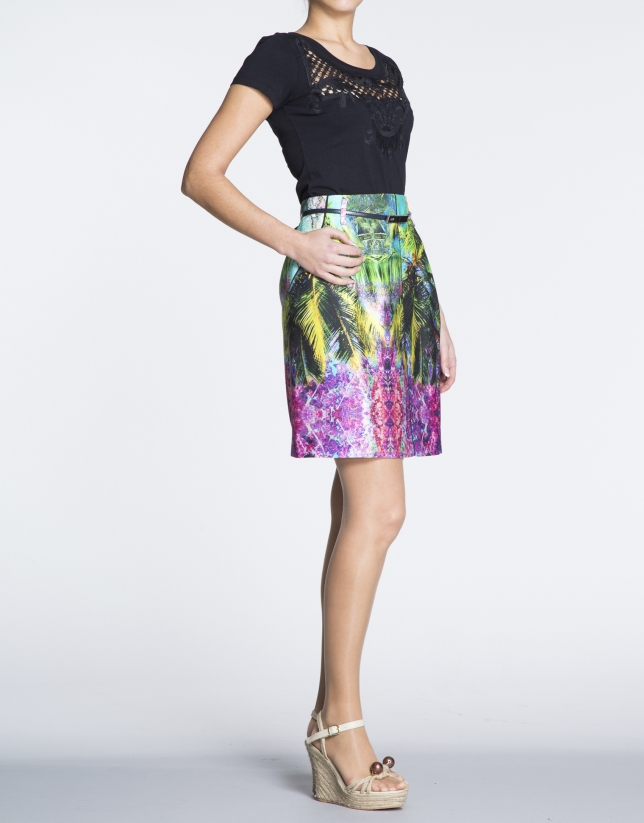 Tropical print A-line skirt