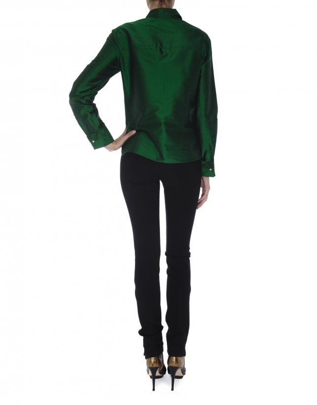 Blusa manga larga seda verde