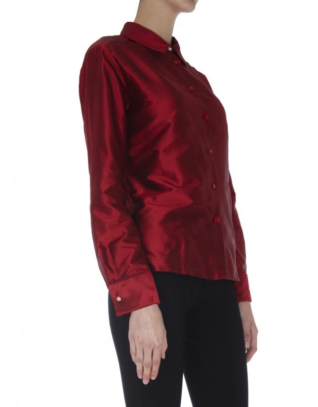 Blusa manga larga seda roja