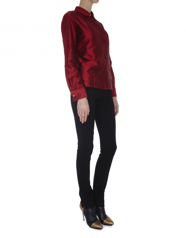 Red long-sleeved silk blouse