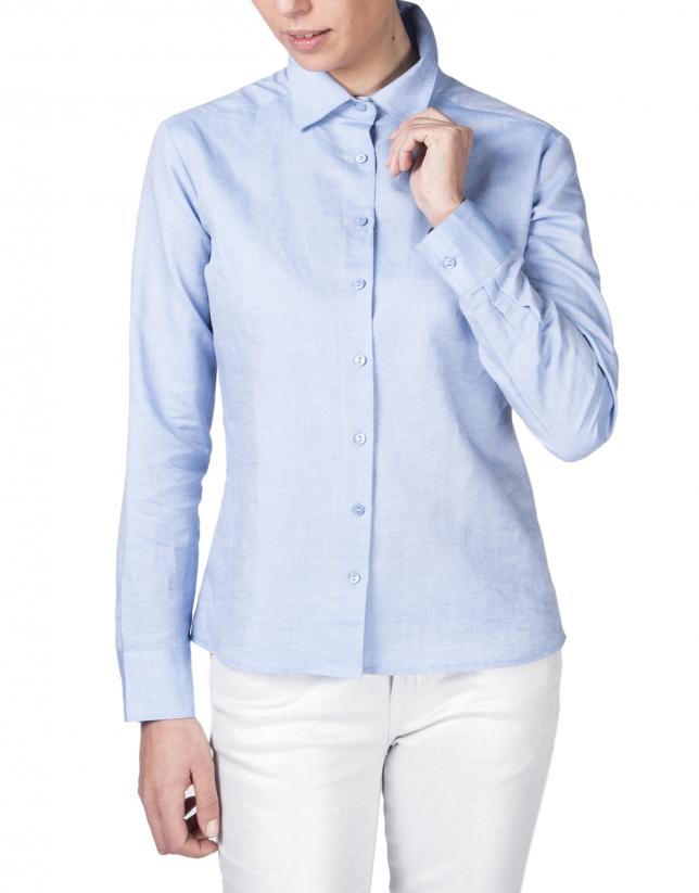 Chemise bleue à manches longues