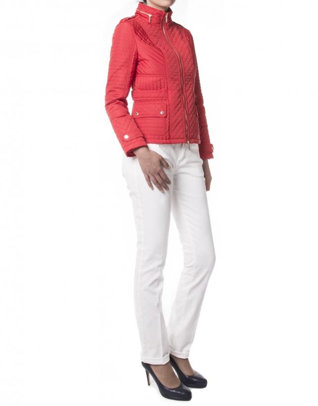 Veste rouge courte matelassée