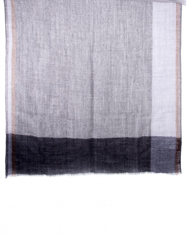 Foulard bicolor gris violeta