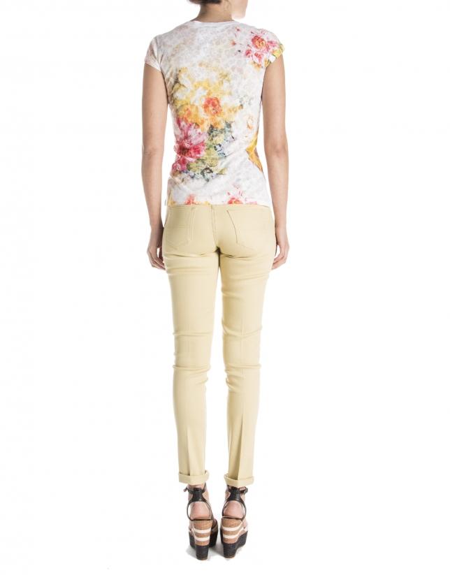 T-shirt jaune à fleurs
