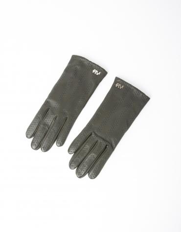Green lambskin leather gloves