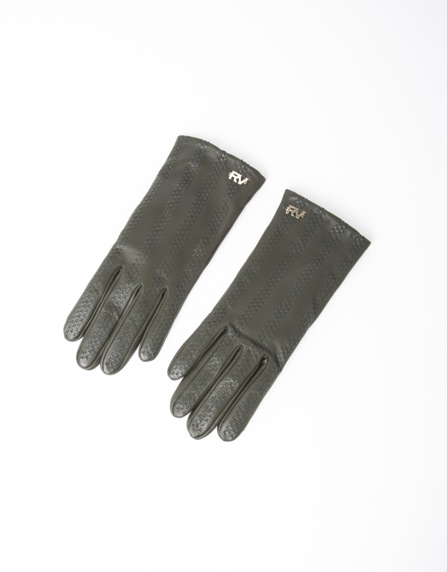 Green lambskin leather gloves