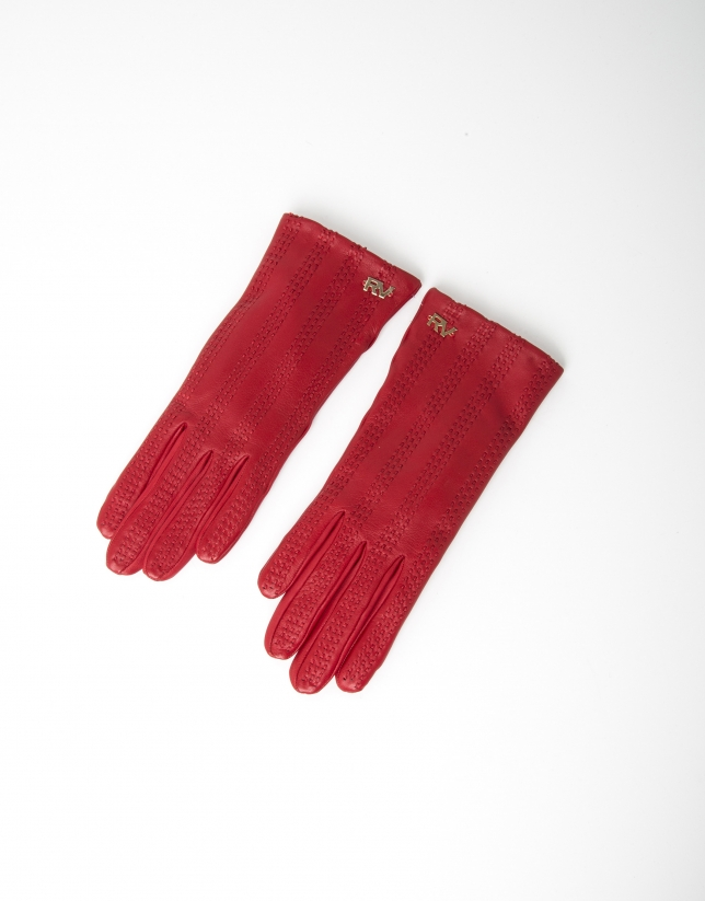 Red lambskin leather gloves