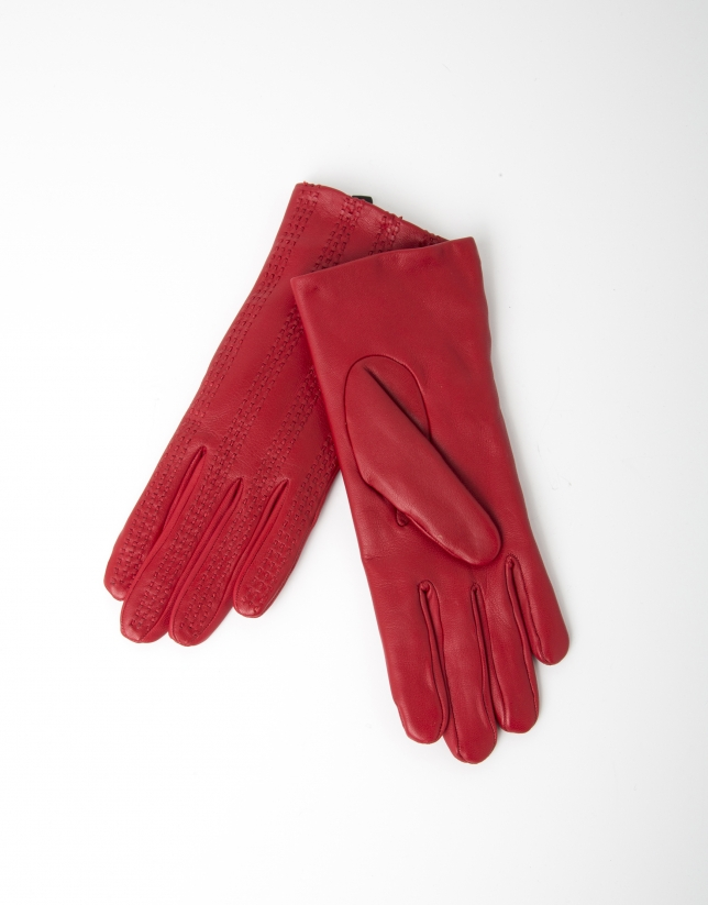 Guantes piel cordero rojo