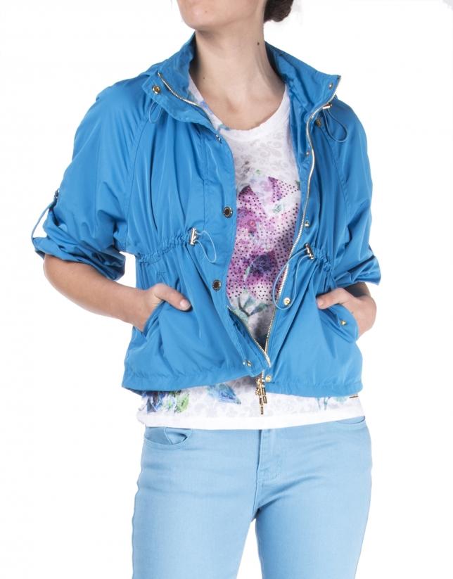 Short blue trench coat