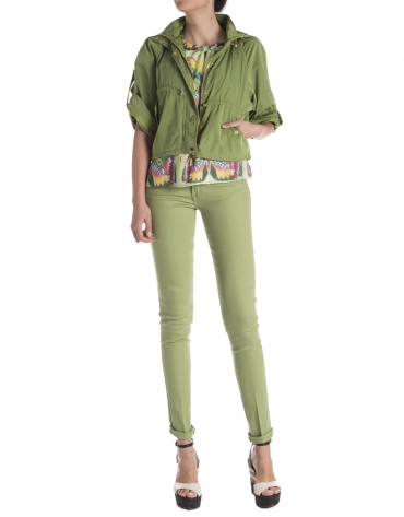 Short green trench coat