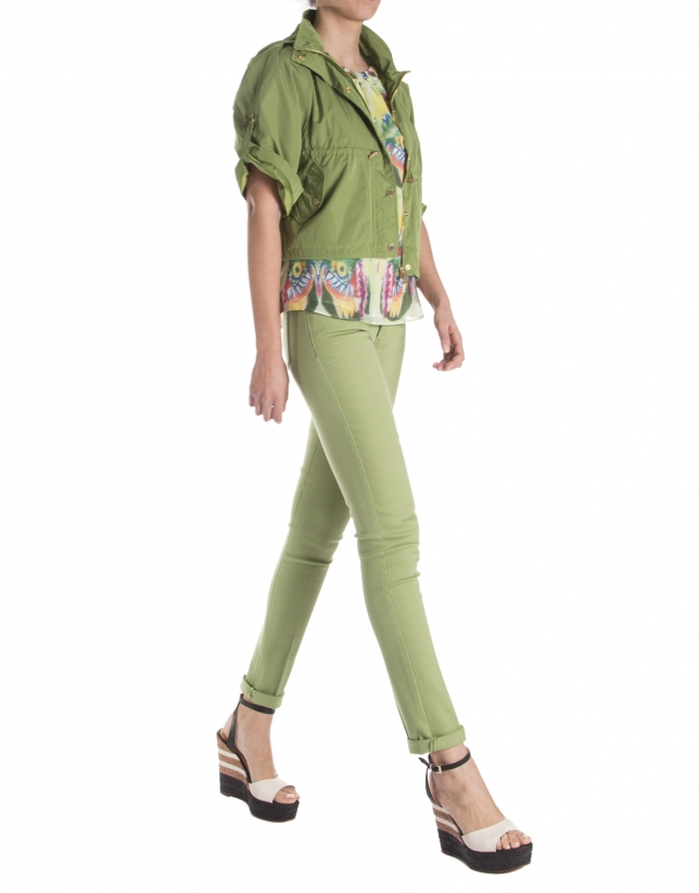 Short green trench coat