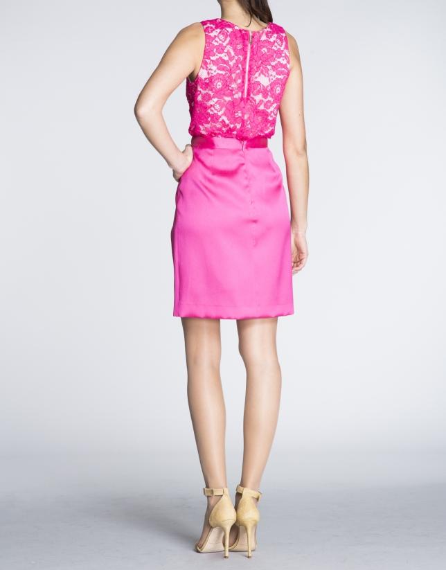 Fuchsia short pleated wrap-around skirt
