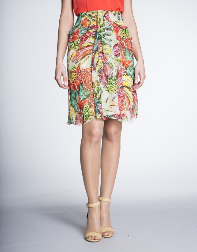 Yellow/coral print chiffon skirt with front pleat