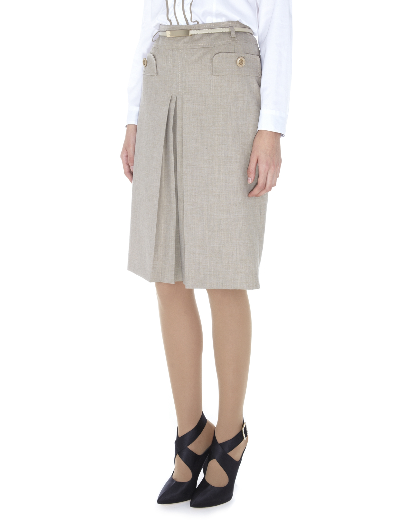 beige front pleated skirt