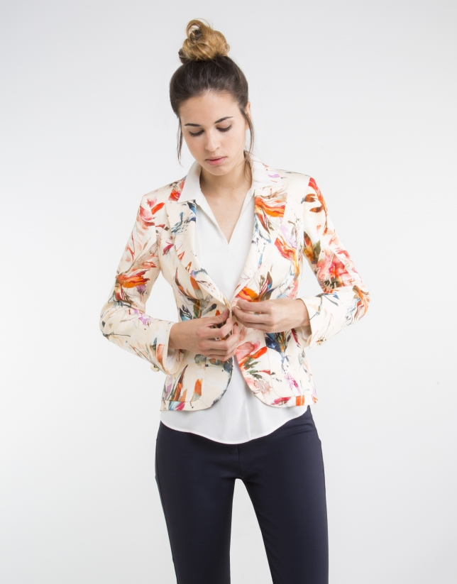 Orange floral print blazer