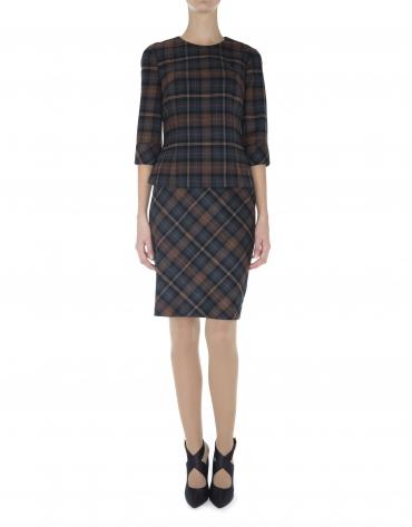 Falda recta estamapada cuadros al bies estilo escocés