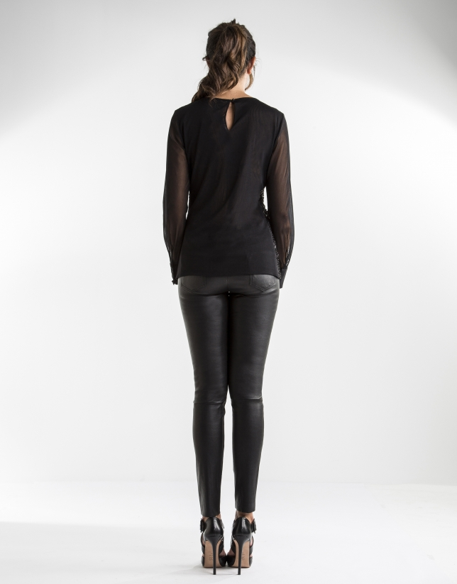 Black embroidered t-shirt with transparencies