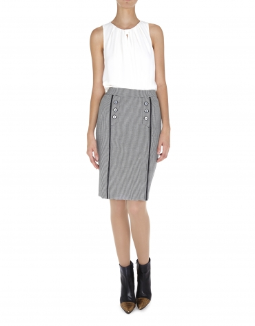 Hounds tooth microprint pleated and buttoned skirt