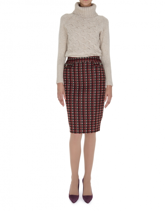 Jupe droite en laine épaisse dans les tons rouges, noirs et beiges