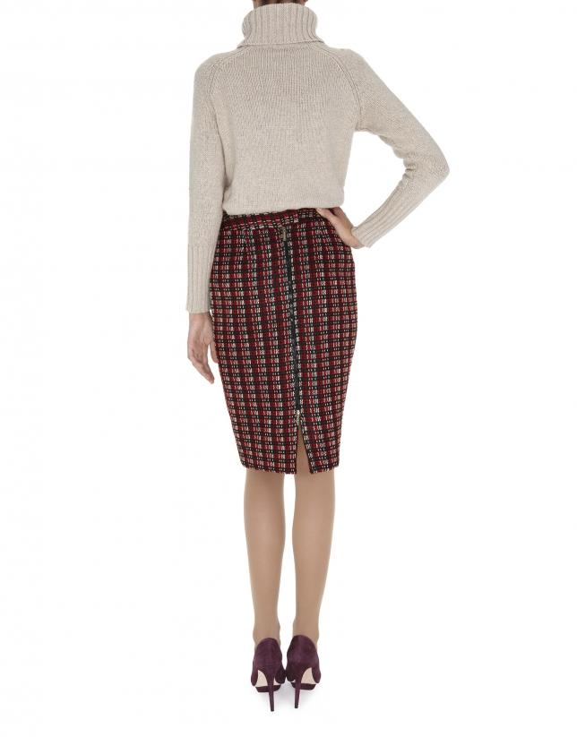 Falda recta lana gruesa en tonos rojo, negro y beige
