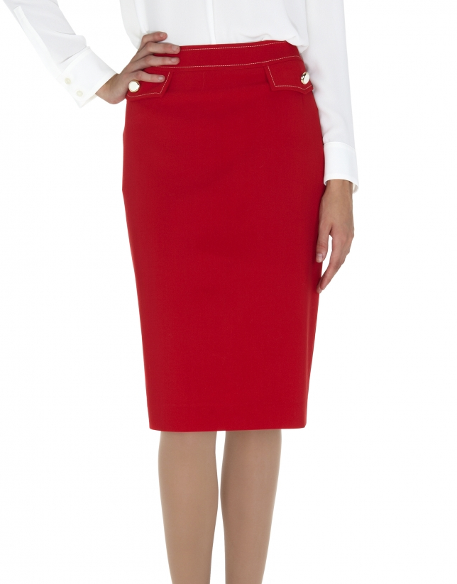 Falda recta tapetas rojas