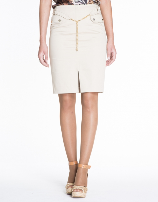Beige cotton skirt with chain belt