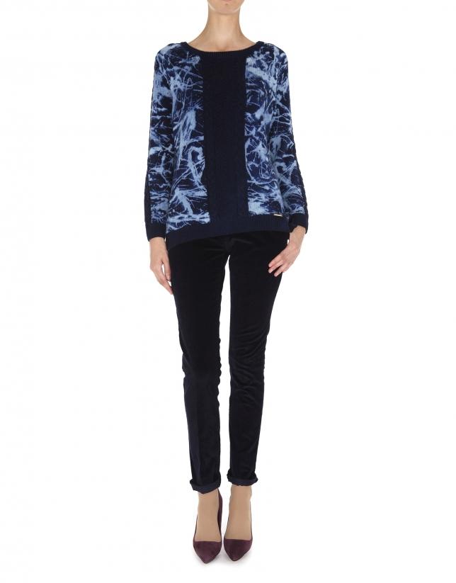 Jersey lana estampado azules con ochos en delantero