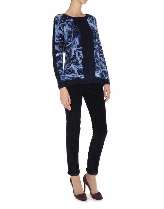 Blue print wool cable stitch sweater