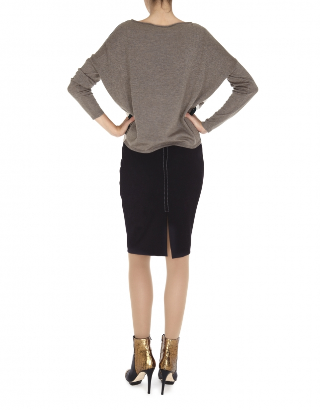 Beige, gray and green dolman sleeve sweater