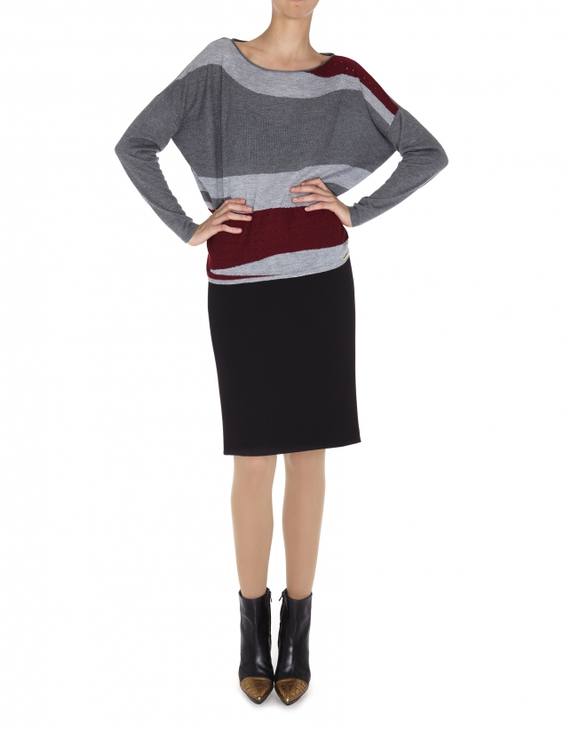Jersey manga dolmán en colores gris y rojo