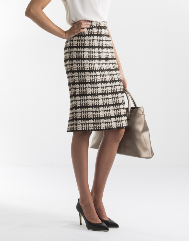 Black and grey jacquard skirt