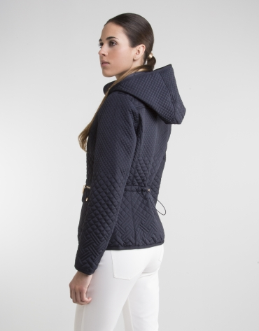 Blue parka with hood