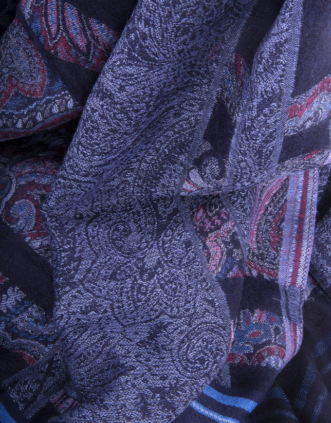 Blue scarf with motifs