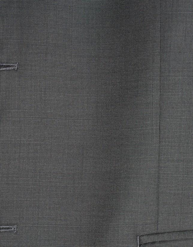 Traje clásico lana microdibujo gris
