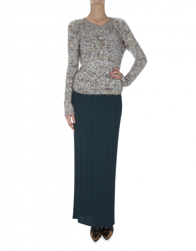Long green pleated skirt