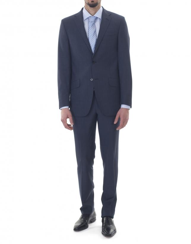 Veste costume bleu marin à micromotifs