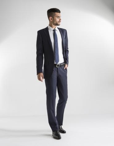 Dark blue structured microprint suit