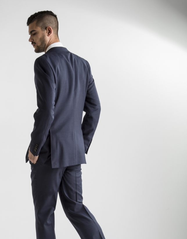 Dark blue structured microprint suit