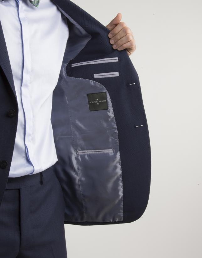 Veste de costume regular fit (coupe classique) semi-entoilée bleu marine