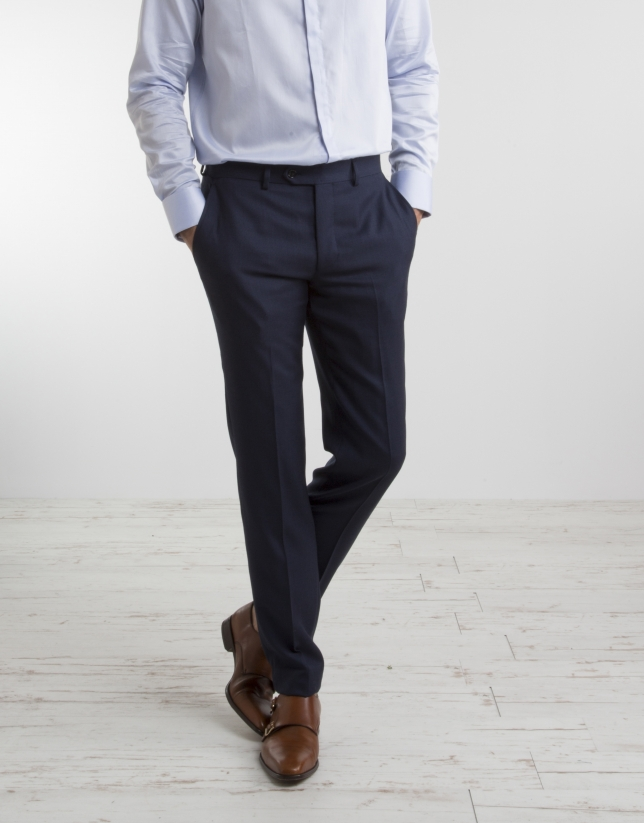 Navy blue half canvas regular fit suit