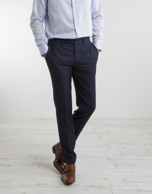 Navy blue half canvas regular fit suit