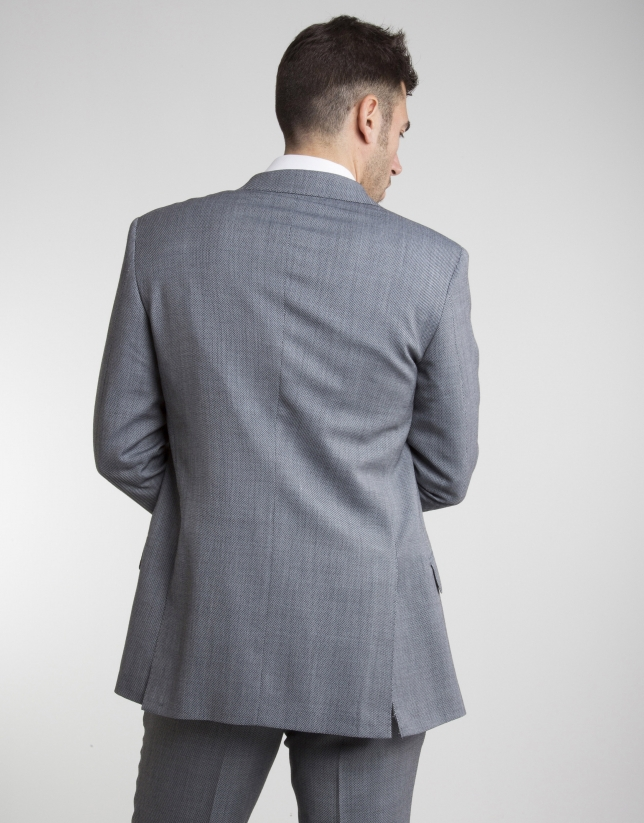Gray half canvas regular fit suit