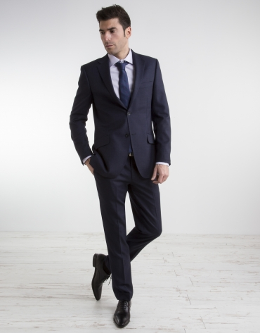 Navy blue bird's eye weave regular fit suit