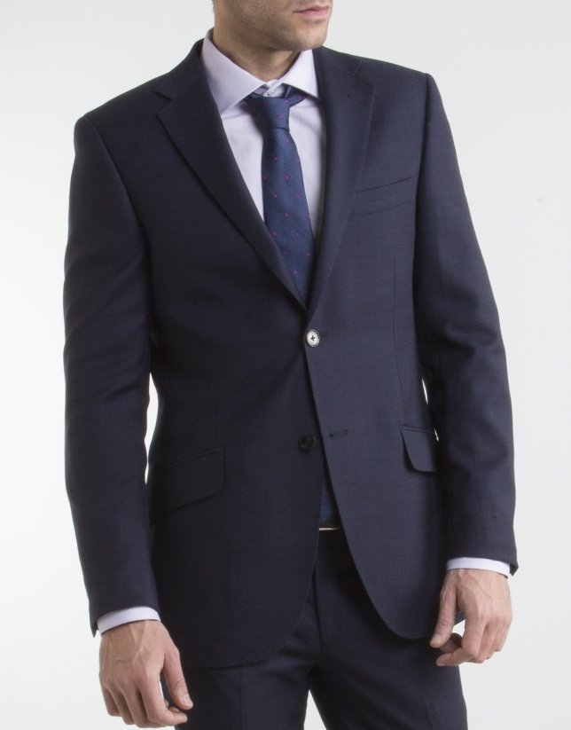 Traje regular fit microdibujo marino