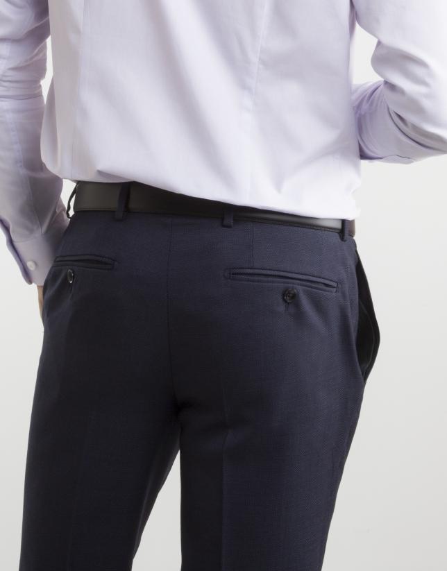 Navy blue microprint weave regular fit suit