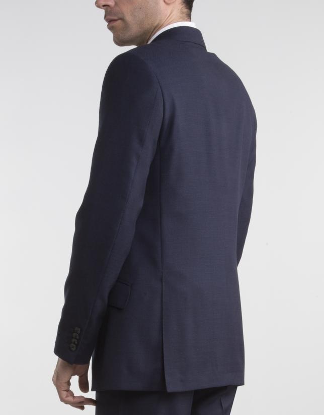 Veste de costume regular fit (coupe classique) micromotif bleu marine