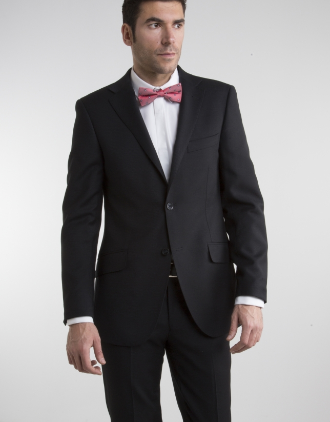 Black structured regular fit suit