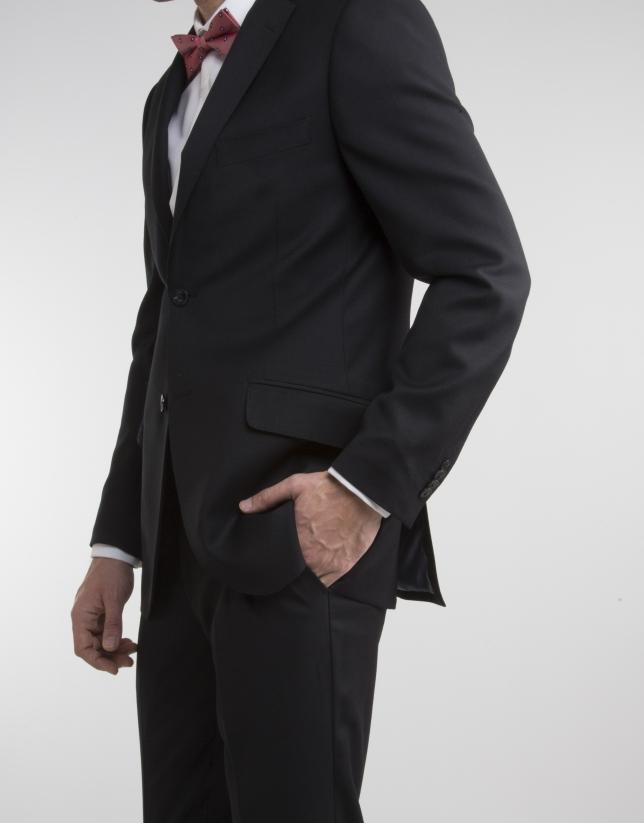 Black structured regular fit suit