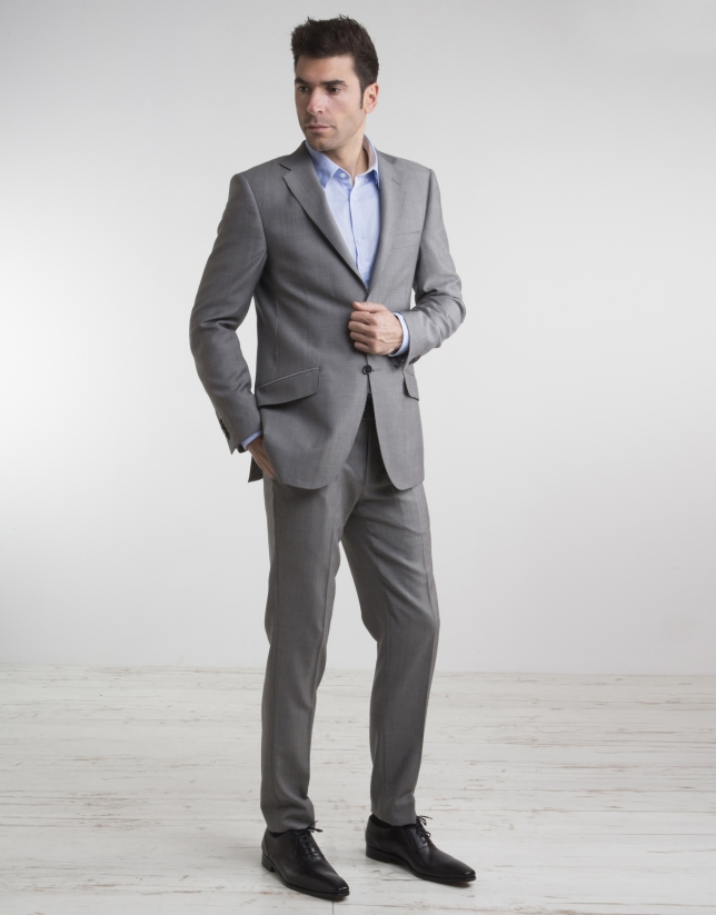 Gray structured regular fit suit