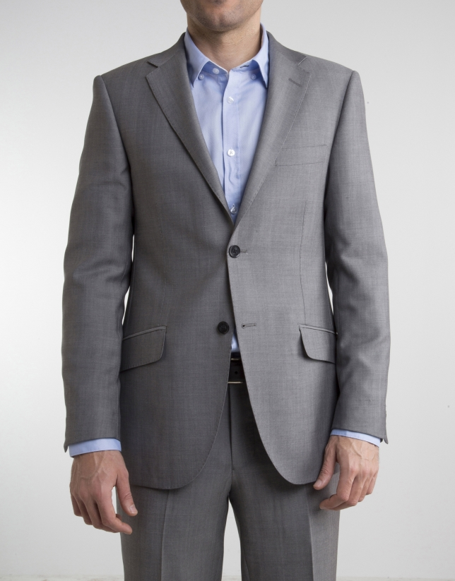 Traje regular fit estructura gris